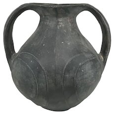 Chinese Neolithic Style Blackware Two Handled Amphora or Vase