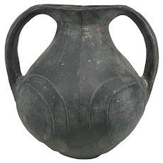 Chinese Neolithic Style Blackware Two Handled Amphora or Vase