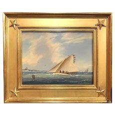 William R. Davis Marine Oil Painting, Catboat Racing off Gay Head Light, Martha's Vineyard