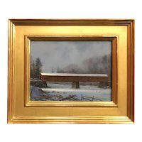 William R. Davis Landscape Oil Painting, West Cornwall CT Covered Bridge