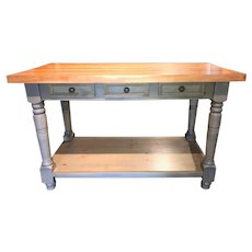 Vintage Painted Maple & Pine Country Butcher Block with Drawers