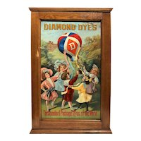 19th / 20th c Colorful Diamond Dye Cabinet Featuring Children & Balloon