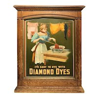 19th / 20th c Large Colorful Diamond Dye Cabinet Featuring A Lady Dying Cloth