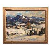 Aldro Thompson Hibbard Vermont Winter Landscape Oil Painting, The Road Home