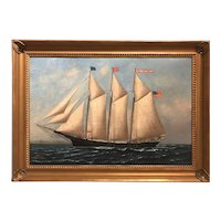 Solon Francis Monticello Badger Oil Painting Ship Portrait of Schooner Donna T. Briggs 1898