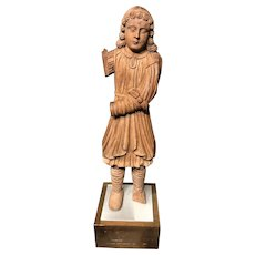 19th c Well Carved Wooden Figure of an Elizabethan Page Boy In Tunic