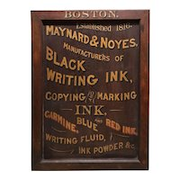 Maynard & Noyes Ink Company Wooden Advertising Trade Sign, Boston MA
