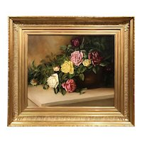 19th c American School Oil Painting, Still Life With Roses, 1885