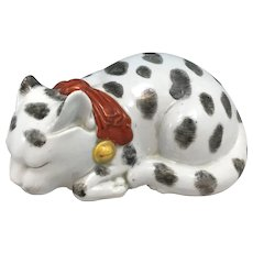 Late 19th c Meiji Kutani Porcelain Polychrome Sleeping Cat