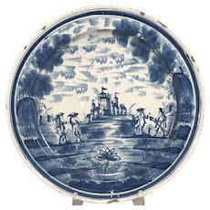 Blue & White Porcelain Dutch Delft Charger with Village Scene circa 1770