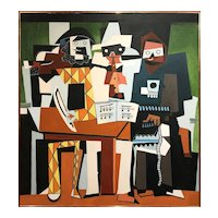 Ike Tennessee Parker Cubist Abstract Expressionist Oil Painting, Three Musicians