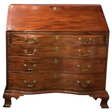 Boston Chippendale Oxbow Mahogany Desk, circa 1770-1790