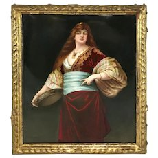 Fine 19th Century Signed KPM Plaque With A Young Woman, Tochter Des Caliefen