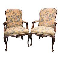 Pair of 19th Century English Floral Needlework Walnut Arm Chairs