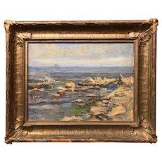 Carl Raschen Impressionist Oil Painting Coastal Scene of Gloucester MA 1920
