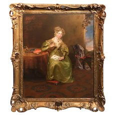 Oil Painting Portrait of a Woman in a Room Setting, Circa 1830
