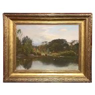 John Joseph Enneking Landscape Oil Painting, Neponset River, Massachusetts 1890
