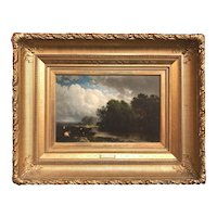 William Hart Oil Painting, River Landscape with Cows 1877