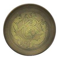 Scheier Ochre Pottery Low Bowl with Adam & Eve Decoration