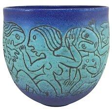 Scheier Blue Incised Pottery Vase with Women & Children