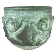 Scheier Green Pottery Vase in Relief with Figures
