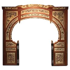 Chinese Hardwood Moon Gate with Polychrome & Gilt Carved Decoration