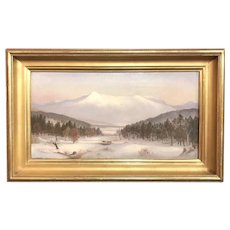 Charles Louis Heyde Winter Landscape Oil Painting of Mount Mansfield, Vermont