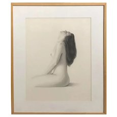 James Aponovich Nude Pencil Drawing, Side View of Model with Head Back