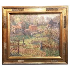 Winfield Scott Clime Impressionist Oil Painting, A Village Garden, Old Lyme