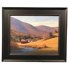 David Dodge New England  Landscape Oil Painting, Valley Farm