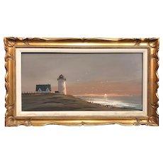 John Terelak New England Coastal Marine Painting of a Lighthouse 1974