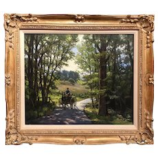 Kenneth J. Knowles Landscape Oil Painting with Horse & Carriage, The Webb Property