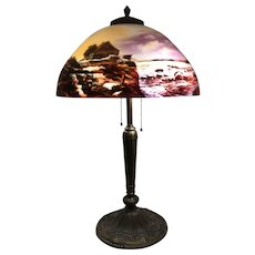 Early 20th c Art Nouveau Table Lamp With Reverse Painted Scenic Shade Attributed to Handel