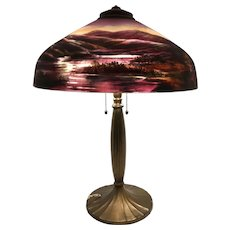 Early 20th c Handel Art Nouveau Table Lamp with Reverse Painted Scenic Shade