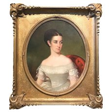 19th Century American School Portrait of a Girl in the Manner of Thomas Sully