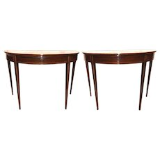 Pair of George III Mahogany Demi Lune Side Tables with Banded Inlay