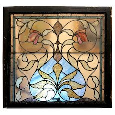 Early 20th Century Leaded Stained Glass Window from Cambridge MA Estate