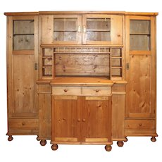 Three Piece Country Pine Hutch or Cabinet with Great Cubby Compartments