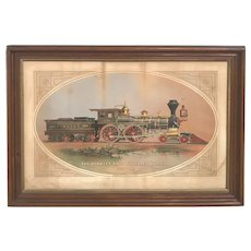 Chromolithograph of a Railroad Locomotive from the Hinkley & Williams Works with Tintype, 1870-1872