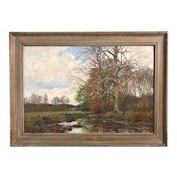 William Merritt Post Tonalist Landscape Oil Painting, Autumn