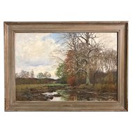 William Merritt Post Tonalist Landscape Oil Painting, Autumn