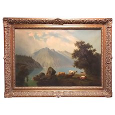 Rudolph Peter Bühl Landscape Oil Painting with Mountains & Cows 1865