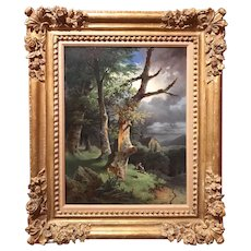 Anton Altmann Oil Painting Woodland Landscape with Figures and a Church 1855