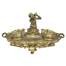 19th Century Paul Mengin French Ormolu Bronze Inkwell with Mermaid & Seashell Motif