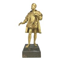 Gilt Bronze Sculpture of a Continental Nobleman on Stone Plinth circa 1800
