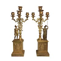 Pair of French Empire Gilt Bronze Figural Candelabra circa 1810