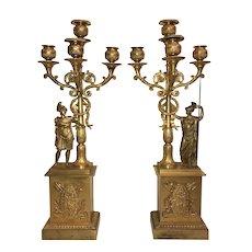Pair of French Empire Gilt Bronze Figural Candelabra circa 1810