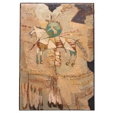 Agnes Sims Southwest Native American Petroglyph Collage Oil Painting