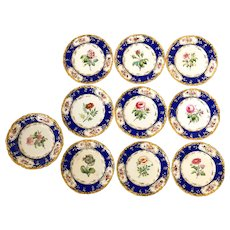 10 Pieces of 19th c Hand Painted Botanical Coalport Porcelain Attributed to Stephen Lawrence