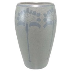 Early 20th c Marblehead Pottery Arts & Crafts Vase with Stylized Trees